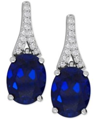 Macy's Lab Created Sapphire 5 1 5 Ct. T.W. And White Sapphire 1 8 Ct. T.W. Drop Earrings In Sterling Silver