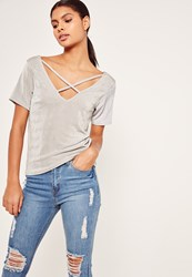 Missguided Slinky Cross Front T Shirt Grey