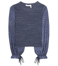 See By Chloe Eyelet Sleeved Cotton Top Blue