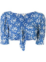 For Love And Lemons Floral Print Cropped Top Blue