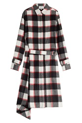 3.1 Phillip Lim Wool Angora Plaid Shirt Dress Multicolor