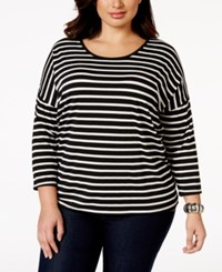 Styleandco. Style And Co. Sport Plus Size Three Quarter Sleeve Striped Top Only At Macy's