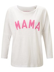 Selfish Mother Mama 3 4 Length Sleeve T Shirt White Neon Pink