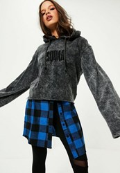 Missguided Black Washed Squad Slogan Flare Sleeve Hoodie