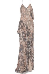 Jason Wu Appliqued Printed Silk Chiffon Gown Multi