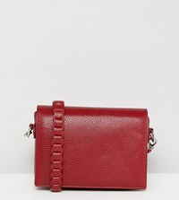 Street Level Minimal Cross Body With Whipstitch Strap In Burgundy Red