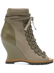 Chloe River Wedge Boots Green