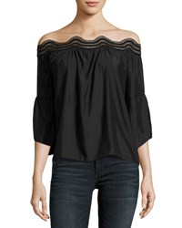 Ramy Brook Priscilla Scalloped Lace Off The Shoulder Top Black