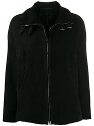 Salvatore Santoro Zipped Shearling Lined Jacket Black