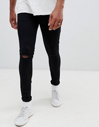 New Look Skinny Jeans With Knee Rip In Black Wash