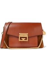 Givenchy Gv3 Small Textured Leather And Suede Shoulder Bag Tan