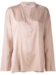 Vince Split Neck Blouse Women Silk Spandex Elastane S Nude Neutrals