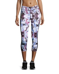 Neiman Marcus Urban Print Cropped Leggings Purple Blue Multi