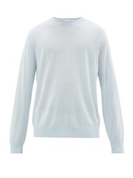 Paul Smith Logo Embroidered Merino Wool Sweater Light Blue