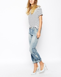 Mih Jeans Manchester Oversized Boyfriend Jeans With Distressing And Rip Detail Blue
