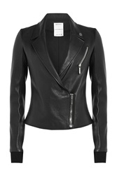 Anthony Vaccarello Leather Biker Jacket Black