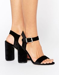New Look Velvet Two Part Block Heeled Sandal Black