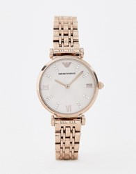 Emporio Armani Ar11059 Gianni T Bar Bracelet Watch In Rose Gold 32Mm