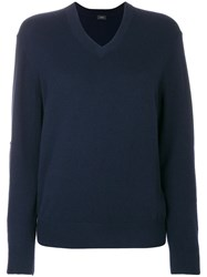 Joseph V Neck Sweater Cashmere M Blue