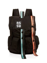 Raf Simons Contrast Straps Canvas Backpack Black