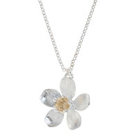Alex Monroe Sterling Silver Citrine Buttercup Necklace