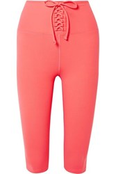 Year Of Ours Cameron Cropped Lace Up Stretch Leggings Coral