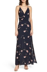 Lush Surplice Maxi Dress Navy Floral