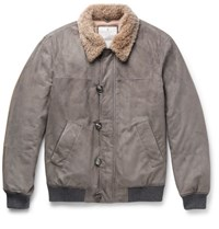 Brunello Cucinelli Cashmere Trimmed Suede Bomber Jacket Gray