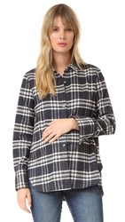 Hatch The Flannel Blouse Black White Plaid