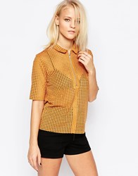 Minimum Perforated Short Sleeve Top Gold