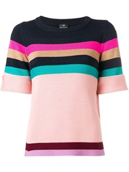 Paul Smith Ps Striped Knitted T Shirt Pink
