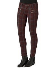 Democracy Plaid Zip Trim Jeggings Wine