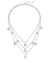 Cz By Kenneth Jay Lane Three Layer Drop Necklace Silver