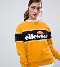Ellesse Relaxed Sweatshirt With Colour Block Stripe And Front Logo Yellow