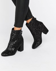 New Look Glitter Heeled Ankle Boot Black