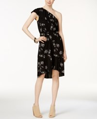 Lucky Brand One Shoulder High Low Dress Black Multi