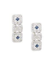 Effy Diamond Blue Sapphire And 14K White Gold Earrings