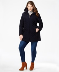 Laundry By Design Plus Size Faux Fur Lined Quilted Velour Coat