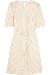 Etoile Isabel Marant Samoa Striped Cotton Blend Mini Dress Off White