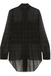 Akris Checked Mulberry Silk Georgette Blouse Black
