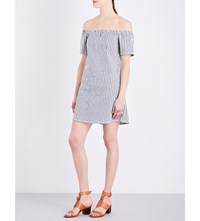 Ag Jeans The Harley Pinstriped Stretch Cotton Mini Dress Gannet