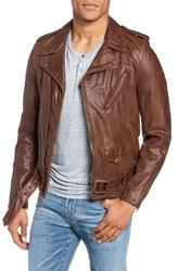 Schott Nyc Hand Vintaged Cowhide Leather Motocycle Jacket Brown