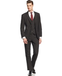Unlisted By Kenneth Cole Black Shadow Stripe Slim Fit Vested Suit
