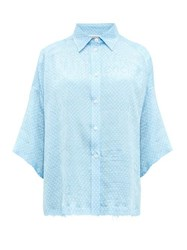 Balenciaga Logo Jacquard Polka Dot Print Silk Blouse Light Blue