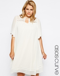 Asos Curve Exclusive Pretty Swing Dress In Vintage Look Cream