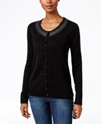 Karen Scott Rhinestone Cardigan Only At Macy's Black