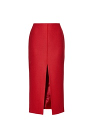 Carven High Waisted Wool Blend Midi Skirt