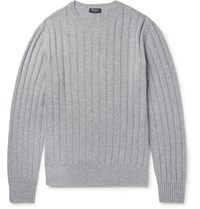 Berluti Leather Trimmed Cashmere Sweater Gray