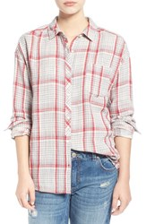 Junior Women's Bp. Plaid Cotton Shirt Red Beauty Emma Plaid
