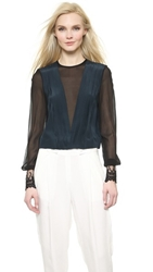 Yigal Azrouel Pleated Front Lace Cuff Top Mystic